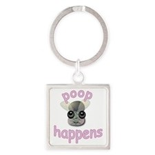 2-Poop-happens-2 Square Keychain