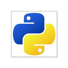 "Python Logo Shirt Square Sticker 3"" x 3"""