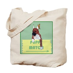 Puppy Boxer in Ear Tapes Tote Bag