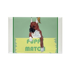 Puppy Boxer in Ear Tapes Rectangle Magnet
