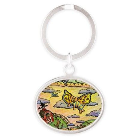 2-flying_pig Oval Keychain