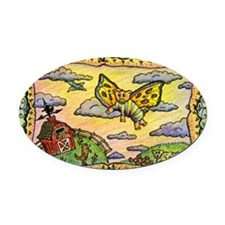 2-flying_pig Oval Car Magnet