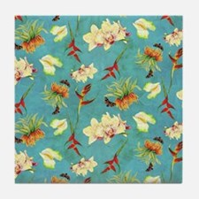 Tropical Floral Orchid Botanical Butt Tile Coaster