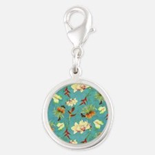 Tropical Floral Orchid Botanic Silver Round Charm
