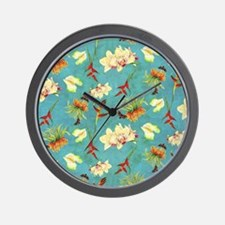 Tropical Floral Orchid Botanical Butter Wall Clock