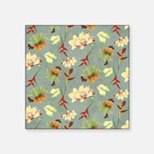 """Tropical Floral Orchid Bota Square Sticker 3"""" x 3"""""""