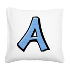 Silly Letter A blue Square Canvas Pillow