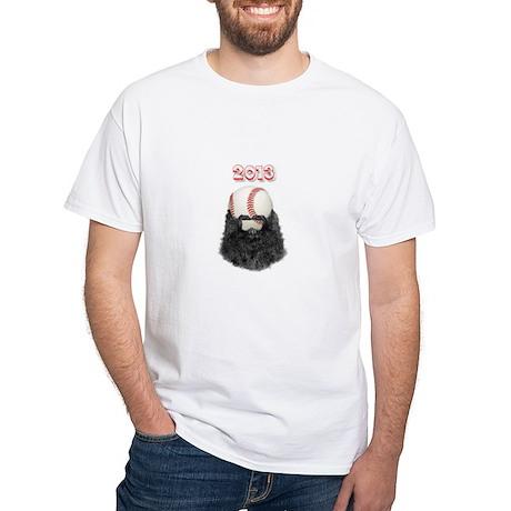2013 Bearded Baseball White T-Shirt