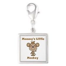 Mommy's Little Monkey Silver Square Charm