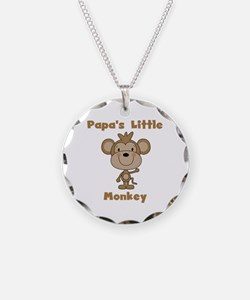 Papa's Little Monkey Necklace Circle Charm