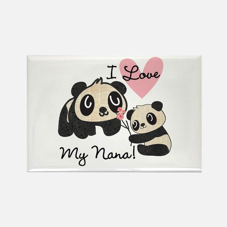 Pandas I Love Nana Rectangle Magnet