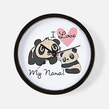 Pandas I Love Nana Wall Clock