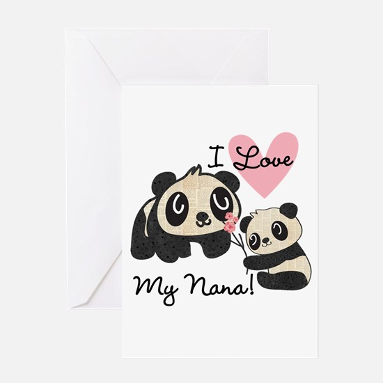 Pandas I Love Nana Greeting Card