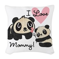 Pandas I Love Mommy Woven Throw Pillow