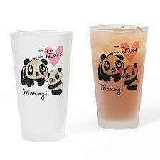 Pandas I Love Mommy Drinking Glass
