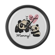 Pandas I Love Mommy Large Wall Clock