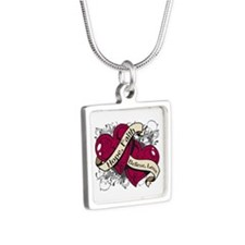 Brain Aneurysm Hope Hearts Silver Square Necklace