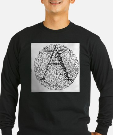 Intricate Celtic A in Circle Long Sleeve T-Shirt