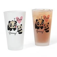 Pandas I Love Granny Drinking Glass