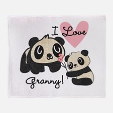 Pandas I Love Granny Throw Blanket