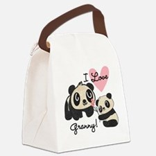 Pandas I Love Granny Canvas Lunch Bag