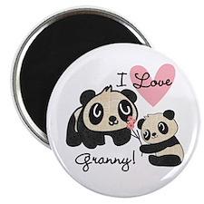 Pandas I Love Granny Magnet