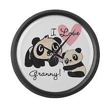 Pandas I Love Granny Large Wall Clock