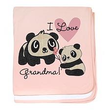 Pandas I Love Grandma baby blanket