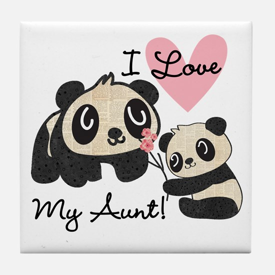 Pandas I Love My Aunt Tile Coaster