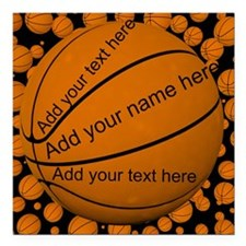 "Basketball Square Car Magnet 3"" x 3"""