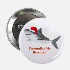 """Personalized Christmas Shark 2.25"""" Button (10 pack"""