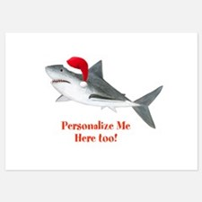 Personalized Christmas Shark 5x7 Flat Cards