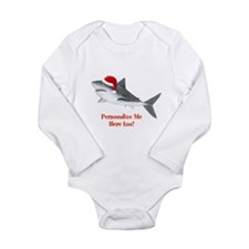 Personalized Christmas Shark Long Sleeve Infant Bo