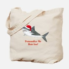 Personalized Christmas Shark Tote Bag