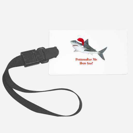Personalized Christmas Shark Luggage Tag