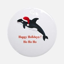 Personalized Christmas Whale Ornament (Round)