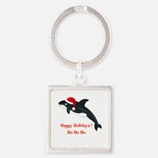 Personalized Christmas Whale Square Keychain