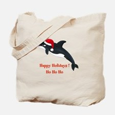 Personalized Christmas Whale Tote Bag
