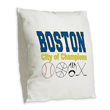 Boston City of Champions Burlap Throw Pillow