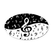 Stylish random musical notes Oval Car Magnet