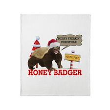 Honey Badger Merry Freakin' Christmas Throw Blanke