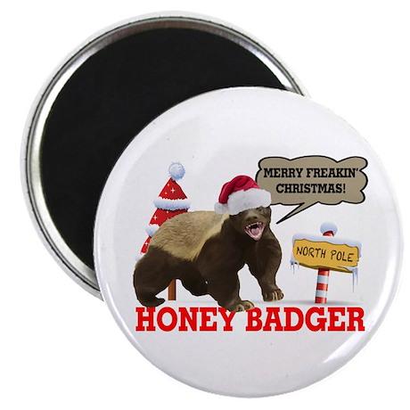 """Honey Badger Merry Freakin' Christmas 2.25"""" Magnet"""
