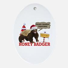 Honey Badger Merry Freakin' Christmas Ornament (Ov