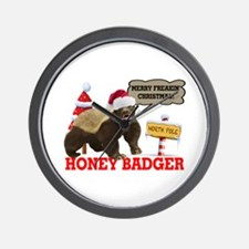 Honey Badger Merry Freakin' Christmas Wall Clock