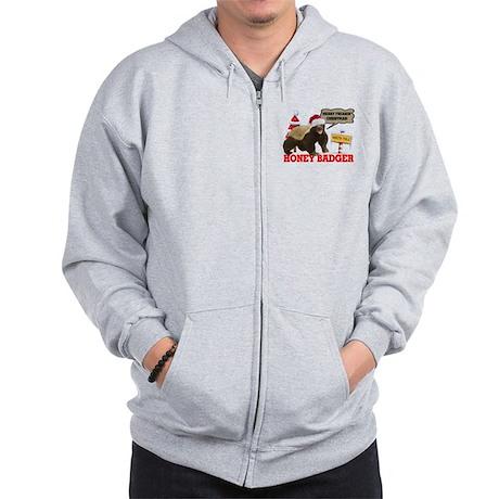 Honey Badger Merry Freakin' Christmas Zip Hoodie
