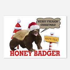 Honey Badger Merry Freakin' Christmas Postcards (P