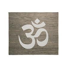 Namaste Yoga Symbol Throw Blanket