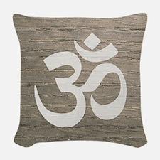 Namaste Yoga Symbol Woven Throw Pillow