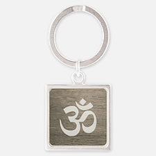 Namaste Yoga Symbol Square Keychain