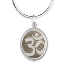 Namaste Yoga Symbol Silver Oval Necklace